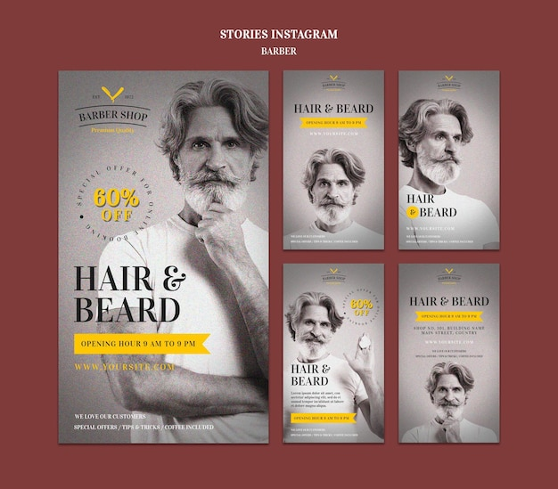Plantilla de historias de instagram de anuncio de peluquería
