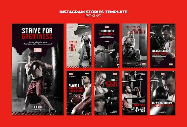 Plantilla de historias de instagram de anuncios de boxeo
