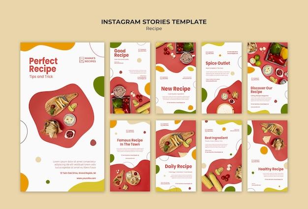 Plantilla de historias de instagram de anuncios de recetas