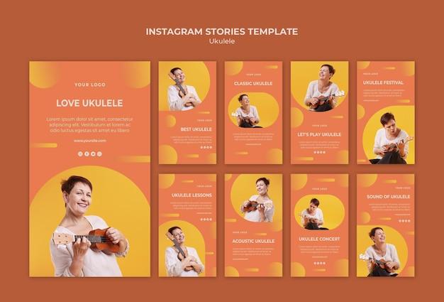 Plantilla de historias de instagram de anuncios de ukelele