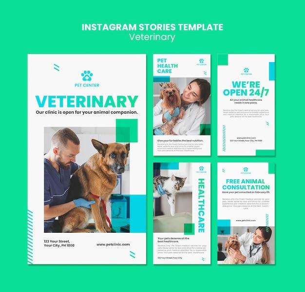 Plantilla de historias de instagram de anuncios veterinarios