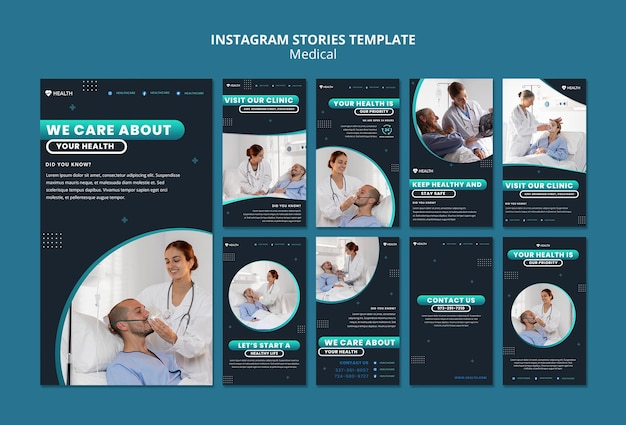 Plantilla de historias de instagram de atención médica