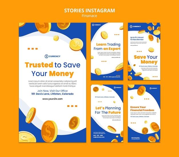 Plantilla de historias de instagram de banca en línea