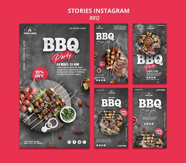 Plantilla de historias de instagram de barbacoa