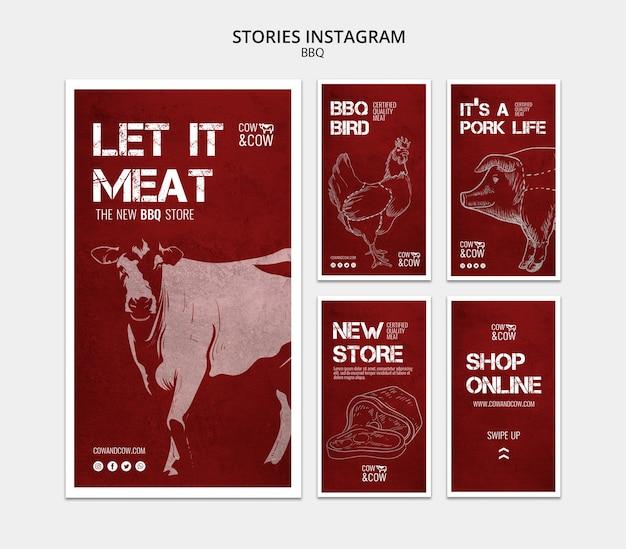 Plantilla de historias de instagram con barbacoa
