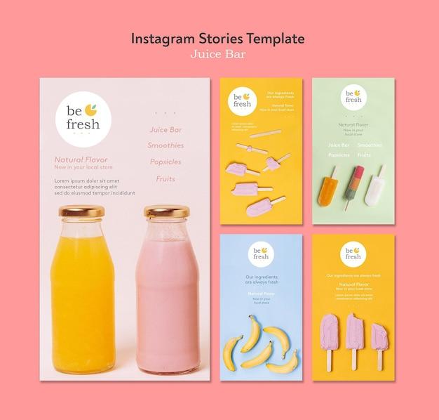Plantilla de historias de instagram de barra de jugos