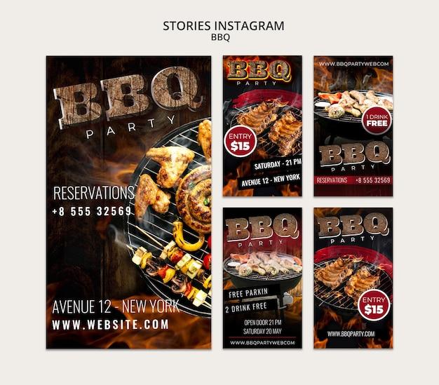 Plantilla de historias de instagram de bbq