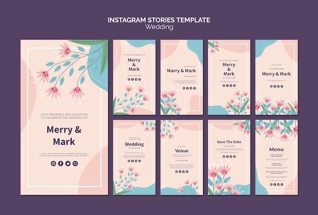 Plantilla de historias de instagram de boda