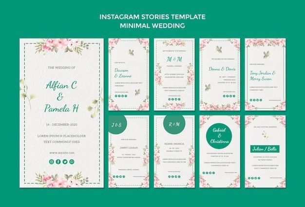 Plantilla de historias de instagram con boda