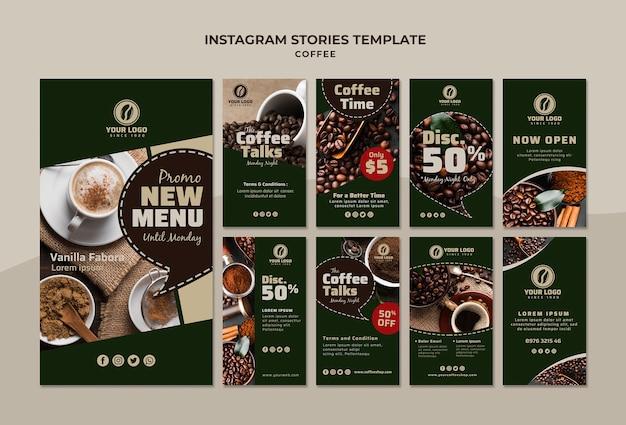Plantilla de historias de instagram de café