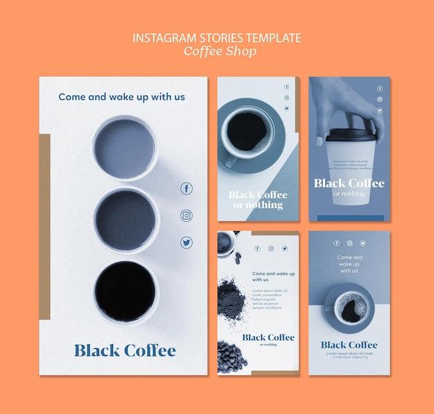 Plantilla de historias de instagram de cafetería