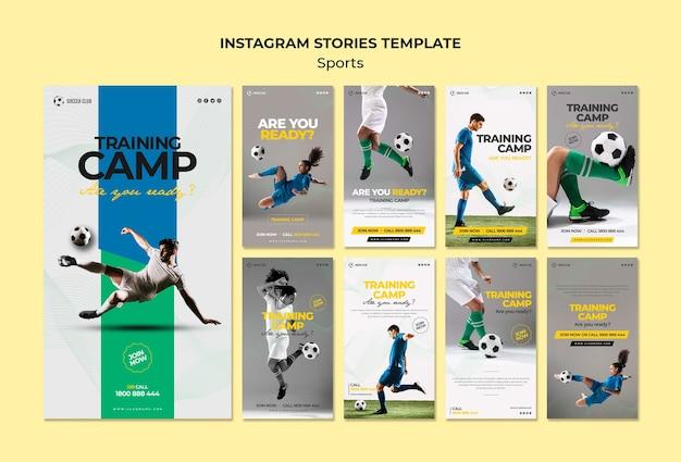 Plantilla de historias de instagram de campo de entrenamiento