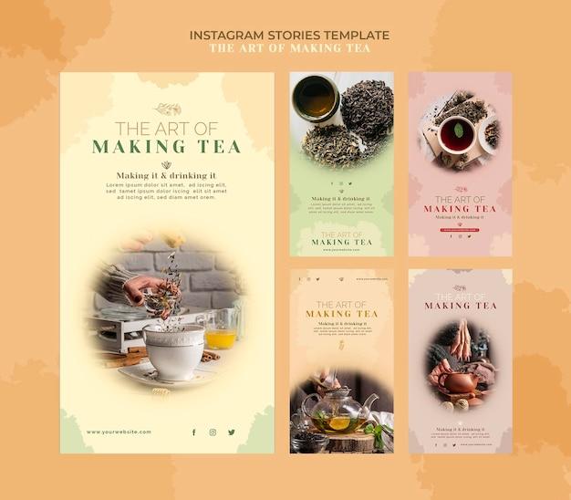Plantilla de historias de instagram de casa de té