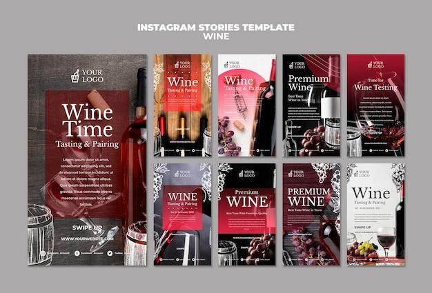 Plantilla de historias de instagram de cata de vinos