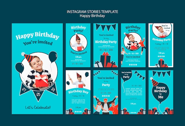 Plantilla de historias de instagram de celebración de cumpleaños