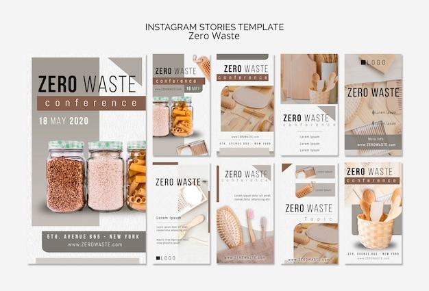 Plantilla de historias de instagram cero desperdicio con foto