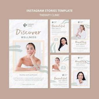 Plantilla de historias de instagram de clínica de terapia