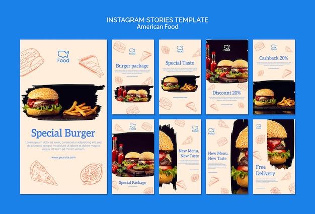 Plantilla de historias de instagram con comida americana