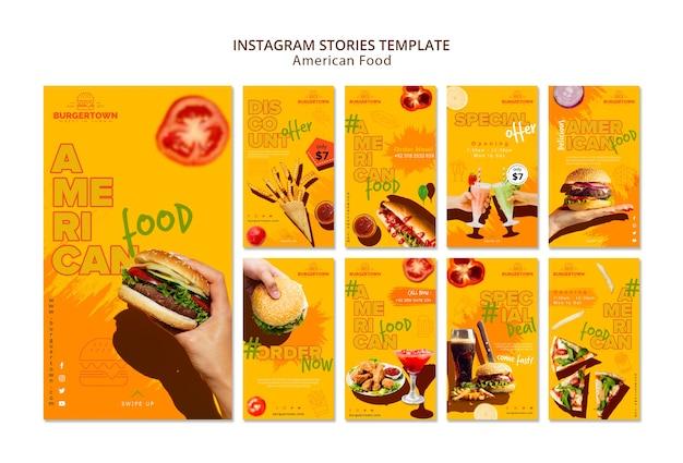 Plantilla de historias de instagram de comida americana