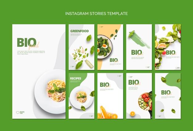Plantilla de historias de instagram de comida bio
