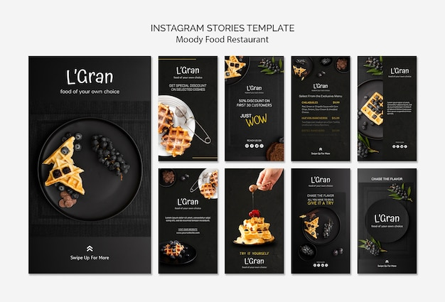 Plantilla de historias de instagram de comida cambiante