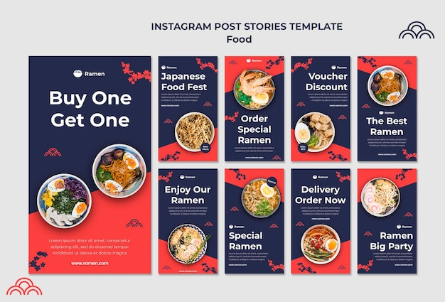 Plantilla de historias de instagram de comida japonesa