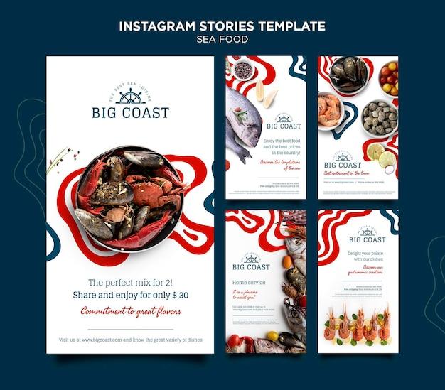 Plantilla de historias de instagram de comida de mar
