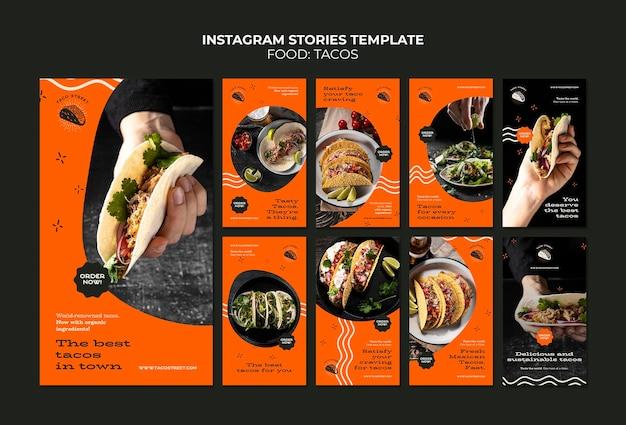 Plantilla de historias de instagram de comida mexicana