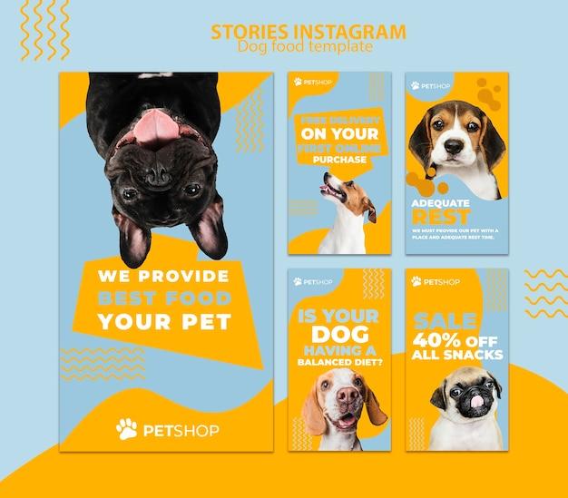 Plantilla de historias de instagram con comida para perros