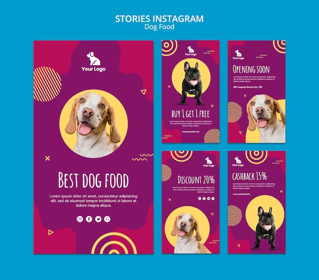 Plantilla de historias de instagram de comida para perros