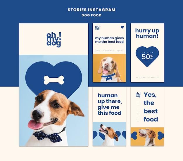 Plantilla para historias de instagram con comida para perros