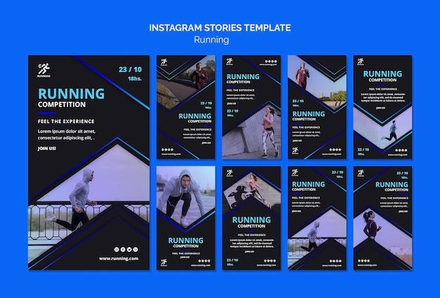 Plantilla de historias de instagram de competencia corriente