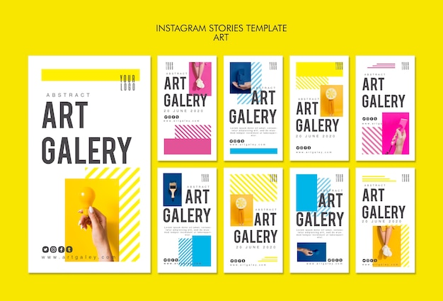 Plantilla de historias de instagram de concepto de arte
