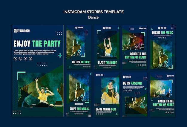 Plantilla de historias de instagram de concepto de baile