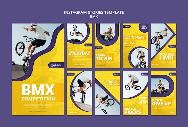 Plantilla de historias de instagram de concepto de bmx