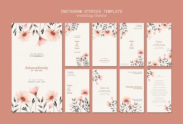 Plantilla de historias de instagram con concepto de boda