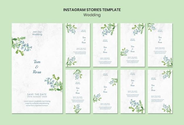 Plantilla de historias de instagram de concepto de boda