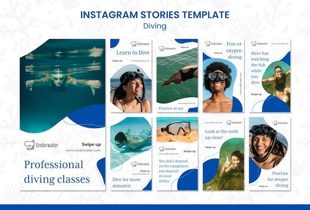 Plantilla de historias de instagram de concepto de buceo