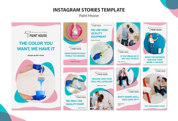 Plantilla de historias de instagram de concepto de casa de pintura