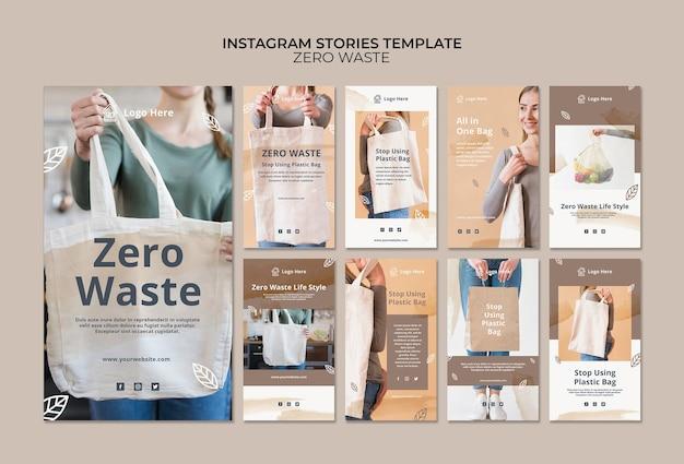 Plantilla de historias de instagram con concepto de cero residuos