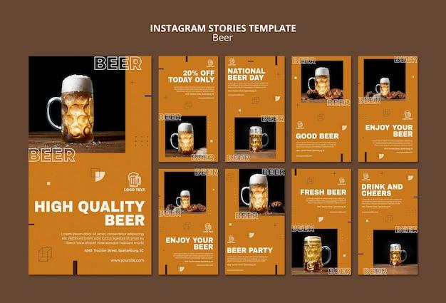 Plantilla de historias de instagram de concepto de cerveza