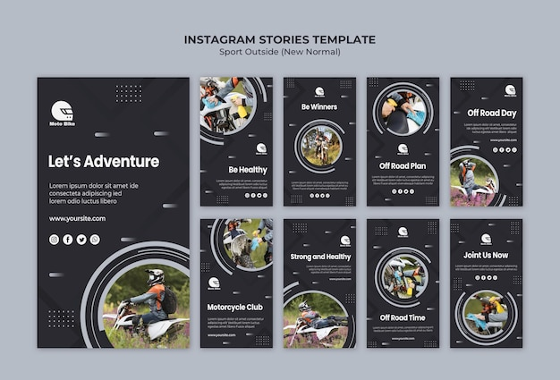 Plantilla de historias de instagram de concepto deportivo
