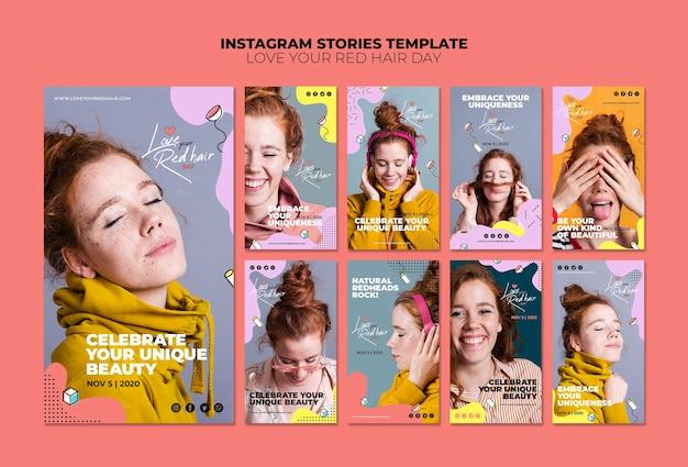 Plantilla de historias de instagram de concepto de día de pelo rojo