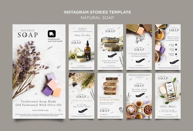 Plantilla de historias de instagram de concepto de jabón natural
