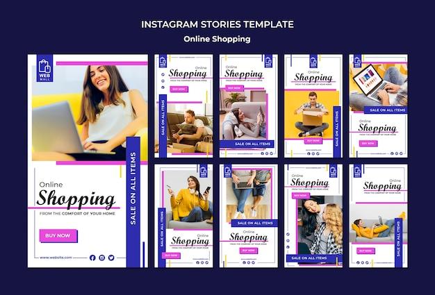 Plantilla de historias de instagram de concepto en línea de compras