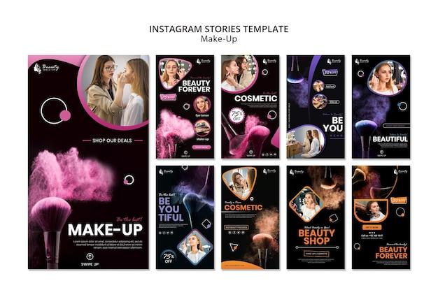Plantilla de historias de instagram de concepto de maquillaje