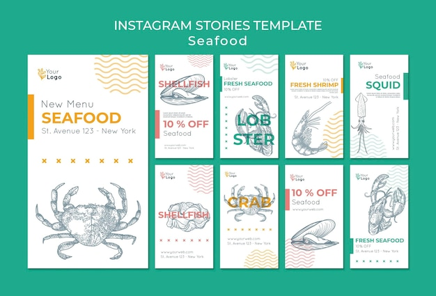 Plantilla de historias de instagram de concepto de mariscos