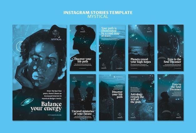 Plantilla de historias de instagram de concepto místico