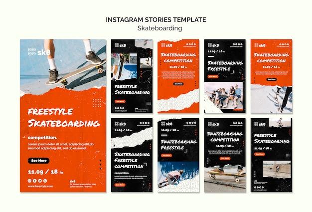 Plantilla de historias de instagram de concepto de monopatín