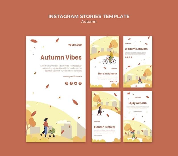 Plantilla de historias de instagram de concepto de otoño